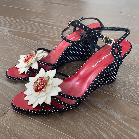 Ramon Tenza Polka Dot Ladybug Wedge Sandal  | 9M